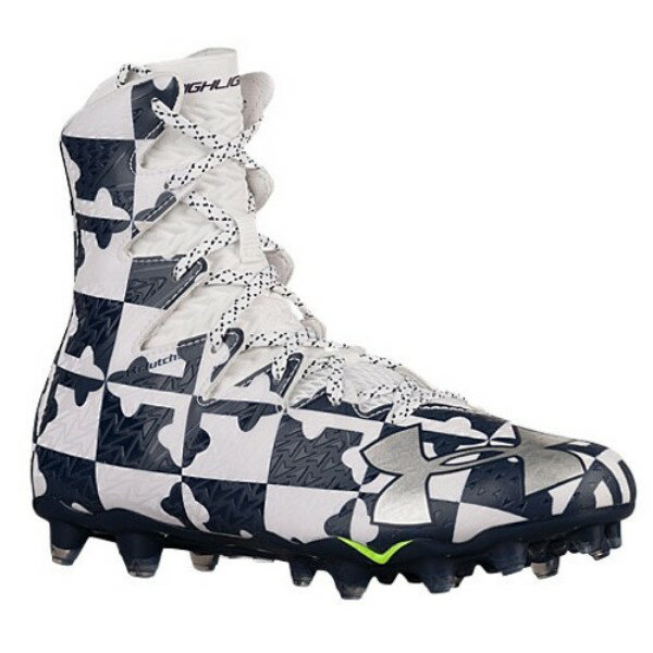 アンダーアーマー メンズ ラクロス シューズ・靴【Under Armour Lacrosse Highlight MC】White/Midnight Navy/Metallic Silver
