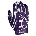 美式足球 - アンダーアーマー メンズ アメフト グローブ 手袋【Under Armour Swarm II Football Gloves】Purple/White/White