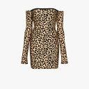 ハルパーン Halpern レディース パーティードレス ミニ丈 ワンピース・ドレス【leopard print off-the-shoulder mini dress】neutrals