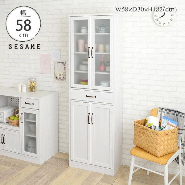 全品送料無料♪ 大容量 薄型 食器棚 食器棚 スリム キッチン収納棚 幅58cm カップボード キッチンキャビネット 一人暮らし シンプル かわいい おしゃれ <LUFFY/LU180-60G>