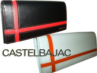 Castelbajac CASTELBAJAC's pull fee free brooch long wallet purse men and women cum for men's women's Saif presents fold purse wallet Bill slot brand new black and white 56616 056616 cross-cross England series