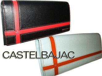 Castelbajac CASTELBAJAC's pull fee free brooch long wallet purse men and women cum for men's women's Saif presents fold purse wallet Bill slot brand new black and white 56616 056616 cross-cross England series