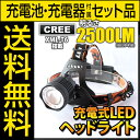 【電池・充電器セット】ヘッドライト led ヘッドライト 強...