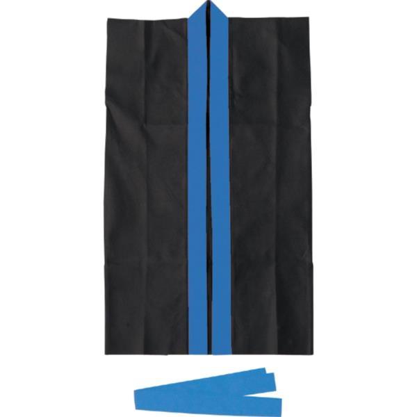 3189ロングハッピ不織布黒(青襟)J(ハチマキ付)(AC10418041)アーテックQBI07