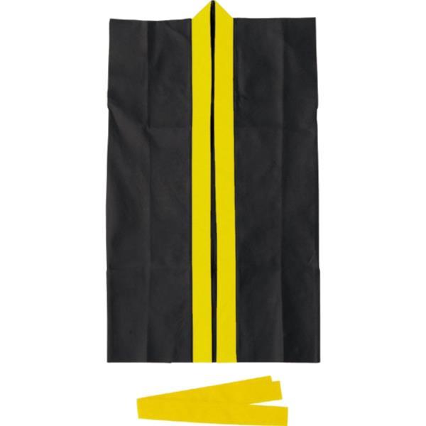 3190ロングハッピ不織布黒(黄襟)J(ハチマキ付)(AC10418042)アーテックQBI07