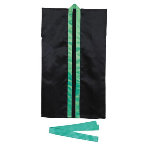 3263ロングハッピ不織布黒(緑襟)S(ハチマキ付)(AC10418106)アーテック