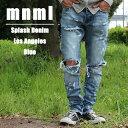 送料無料 ミニマル 裾ZIP(ジップ) ダメージクラッシュジーンズ mnml M1 DENIM M2016-P151 クラッシュデニムパンツ ジップジーンズ スリ..