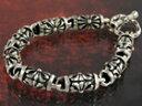 【クロノンブレス hb079】大胆にクロスを彫り込んだ円柱パーツを繋いだシルバーブレスレット【送料無料】