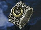 黒イブシで夜を、真鍮で三日月を表現した素晴らしいデザインのシルバーリング【メンズアクセサリー】【シルバー925/指輪】【】