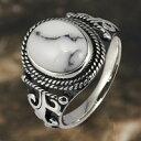 シルバー アクセサリー シルバーリング シルバー925 ホワイトターコイズ メンズ レディース ユニセックス 指輪 ネイティブ アラベスク 唐草 ジュエリー