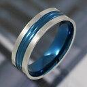 ステンレスリング 指輪 ブルー 青 シンプル メンズ レ