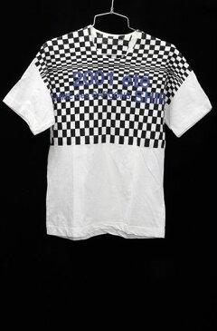 【3月24日に値下げ】COMME des GARCONS SHIRTコムデギャルソンシャツ 2001市松ロゴTシャツ【MTSA46368】【白黒紺】【S】【中古】【2点以上同時購入で送料無料】【DM180203】