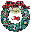 トールペイント図案付白木素材 リトルサンタのクリスマスリースセット