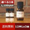【送料無料/ゆうメール】選べる12ML×3本セット[エッセンシャルオイル/精油/アロマオイル(各12ml)]