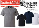 ヘンリーネックTシャツ 5.6オンス UNITED ATHLE(ユナイテッドアスレ)【無地・メンズ半袖】ボタンTシャツ(5004-01)【2016ss】NEW!!! UnitedAthle【1019】