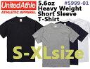 【S-XLサイズ】5.6ozヘヴィーウェイト Tシャツ(UNITED ATHLE/ユナイテッドアスレ)【厚手・無地半袖】メンズ・・男女兼用(5999-01) UnitedAthle【2017ss】NEW!!【0213】