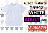 【アダルトサイズ】【ホワイト】激安♪United Athle(ユナイテッドアスレ)6.2オンス無地半袖ヘビーウエイトTシャツ白XS・S・M・L・XL5942SALE!!!