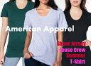 【処分品】American Apparel(アメリカンアパレル) 3.8oz シアジャージー ルーズクルーサマーTシャツ【無地・半袖・ユニセックスXS S・レディースサイズ】(AAPP-T6402)【0803】
