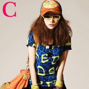 ネコポス パターン カラフル インパクト Tシャツ デザイン レディース トップス カットソー カジュア
