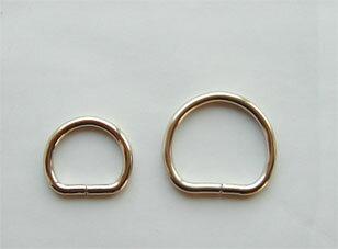 丸半月Dカン 15mm(ヒモ通し幅)線の太さ3mm つなぎあり ゴールド 日本製