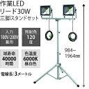 日動工業 LED作業灯リード30W LPR-S30LW-3ME 三脚2灯式 三脚スタンドセット 簡易防水形 [配送制限商品]
