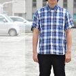 チェスト/コットンリネンチェックシャツ/リネンシャツ/シャツ/半袖/メンズ/74014