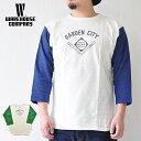 ショッピングガーデン WAREHOUSE ウエアハウス Tシャツ Lot 4800 7分袖ベースボールT GARDEN CITY メンズ M-L