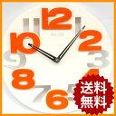 掛け時計 ホワイト シンプル デザイン オレンジ 壁掛け時計 おしゃれ 時計 かわいい 壁掛け ウォールクロック インテリア モダン アート プレゼント ギフト 贈り物 壁掛時計 クロック