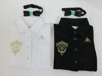 【60%OFF】le coq(ルコック) レディース 七分袖ポロシャツ(リボンタイ付)QGL1982(ホワイト・ブラック)定価12000円+税の画像