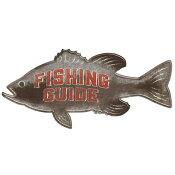 【オープン ロード ブランド】 「Fishing Guide」ブリキの看板 / Fishing Guide Rustic Die-Cut Embossed Tin Sign
