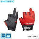 シマノ 3D アドバンスグローブ3 GL-021N レッド/ブラック (3本カット フィッシンググローブ 手袋)