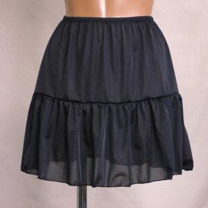 ペチコート インナー フリフリギャザー スカート ワンピース ブラック