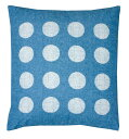 クッションカバー 水玉柄ブルー55×59cm用洗濯機洗い可中身は別売りです。 日本製クッションカ...