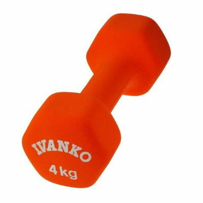 【入荷待ち ご予約になります】IVANKO(イヴァンコ)ネオプレンビューティダンベル(オレンジ)4kg(ペア/2本1組)IVD-4 [滑りにくく水洗いもOK]