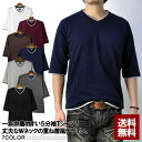 5分袖 Tシャツ メンズ Vネック 無地Tシャツ 綿コーマ糸使用 フェイクレイヤード カットソー【D2U】【パケ1】