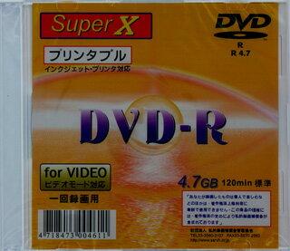 【返品交換不可】SuperX アナログ録画用DVD-R インクジェットプリンタ対応 1枚 DVD-R120 1X PW SLIM 1P_Outlet