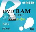 【返品交換不可】RITEK DVD-RAM 繰り返し記録用 片面記録 4.7GB 2-3倍速対応 10枚 5mmスリムケース入り RiTEKレーベル 印刷非対応 D-RM..