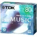 TDK 音楽用CD-R 80分 10枚 ホワイトワイドプリンタブル インクジェットプリンタ対応 CD-RDE80PWX10N