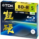 TDK データ用ブルーレイディスク 超硬シリーズ BD-R DL 50GB 1-4倍速 ホワイトワイドプリンタブル 5枚パック 5mmスリムケース BRD50H...