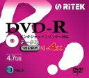 【返品交換不可】RiTEK DVD-R データ用 4.7GB 4倍速対応 インクジェットプリンター対応ホワイト スリムケース入り 10枚パック RITEK D-R4X10PW
