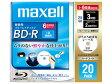 【お取り寄せ商品】maxell ブルーレイディスクBD-R 録画用 25GB 130分 1-6倍速対応 20枚 5mmslimケース入り ひろびろ超美白ワイドプリンタブル インクジェットプリンター対応 ハードコート BR25VFWPC.20S