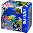【お取り寄せ商品】maxell SuperMQシリーズ CD-R データ用 700MB 2-48倍速対応 20枚 5mmslimケース入り カラーミックスプリンタブル CD..