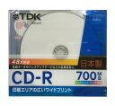 TDK �ǡ�����CD-R 700MB 48��® 1�� 5mm����ॱ���� �ۥ磻�ȥ磻�ɥץ�֥� �������åȥץ���б� CD-R80PWD-CS
