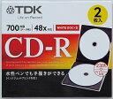 TDK データ用CD-R 700MB 48倍速対応 2枚 スリムケース入り ホワイトワイドプリンタブル インクジェットプリンタ対応 CD-R80PWD2A-H