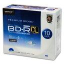 【高品質ハイグレードメディア】PREMIUM HIDISC BD-R DL 1回録画 6倍速 50GB 10枚 5mmスリムケース ホワイトワイドプリンタブル インク..