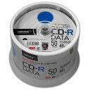 <TY技術を引き継いだ国産同等品質> TYコードシリーズ HIDISC CD-R データ用 48倍速 700MB ホワイトワイドプリンタブル スピンドルケース 50枚 TYCR80YP50SPMG