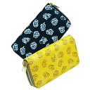 ショッピングプリント かわいい ふくろう プリント 福財布 レザー調 ダブルファスナー 長財布(レディース・メンズ)イエロー黄色/ブラック黒色
