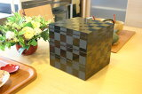 運動会にピクニック、お花見、おせちに使えるお弁当重箱!☆☆三段重箱 黒 市松