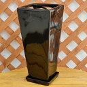 ロングスクエア陶器鉢S ブラック 7号サイズ