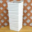 ウェーブスクエアポール陶器鉢M ホワイト 7号サイズ おしゃれ 四角柱形 植え替え ツヤあり 送料無料